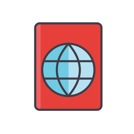 Passport, travel, visa, stamp, migration concept. Line vector icon. Editable stroke. Flat linear illustration isolated on white background