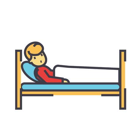병원 침대, 클리닉 개념에 환자입니다. 라인 벡터 아이콘입니다. 편집 가능한 획. 평면 선형 그림 흰색 배경에 고립 된