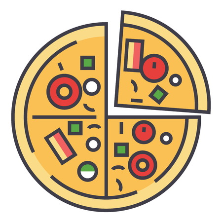Pizza, pizzeria, concept de restauration rapide. Icône de vecteur de ligne. Trait éditable. Illustration de plat linéaire isolé sur fond blanc Banque d'images - 83978844