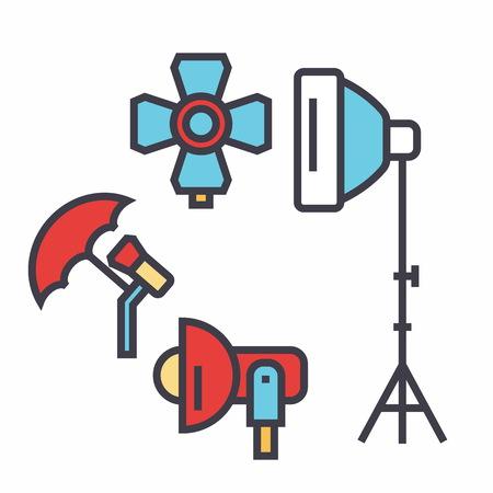 写真光スタジオ、照明器具、写真家コンセプト。行ベクトルのアイコン。編集可能なストローク。白い背景に分離された平面線形図  イラスト・ベクター素材