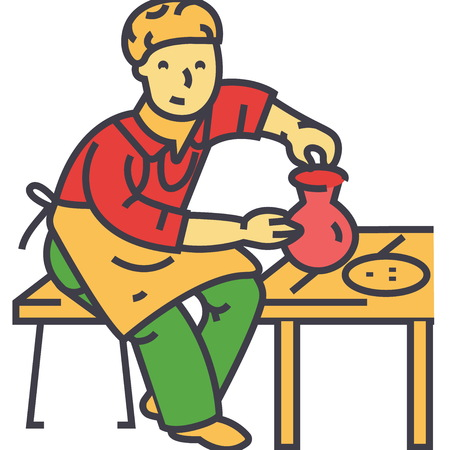 陶器趣味、ポッターの陶芸家、粘土クラフト、陶芸作品のコンセプト。行ベクトルのアイコン。編集可能なストローク。白い背景に分離された平面