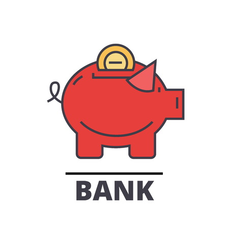 Piggy bank, cash, investment, banking concept. Line vector icon. Editable stroke. Flat linear illustration isolated on white background