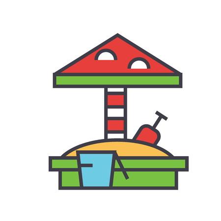 Sandbox with umbrella, bucket, rake, sandcastle concept. Line vector icon. Editable stroke. Flat linear illustration isolated on white background