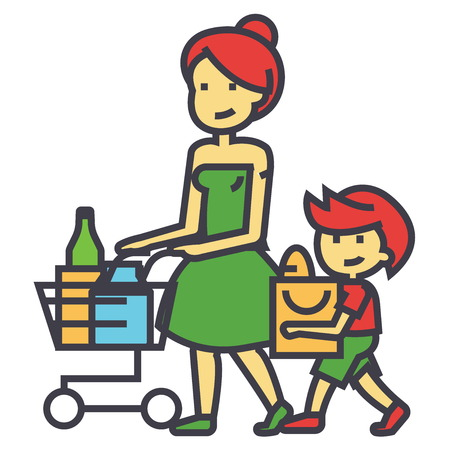 mujer en el supermercado: Shopping grocery, mother with son and shopping cart, retail concept. Line vector icon. Editable stroke. Flat linear illustration isolated on white background