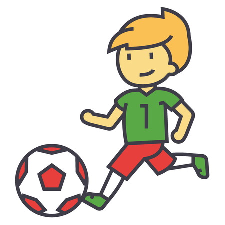 Boy playing soccer ball illustration.
