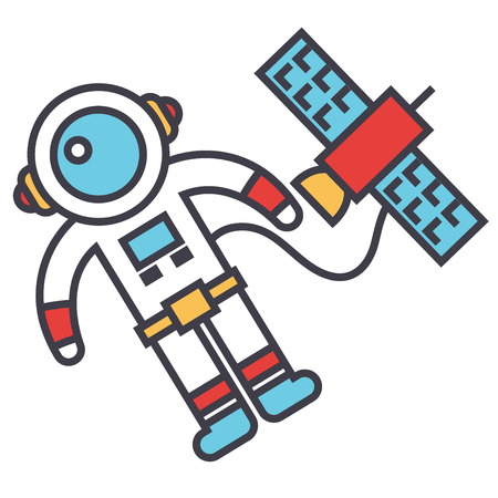 Spaceman in space with spaceship.