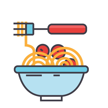 Spaghetti bolognese with meat balls illustration.