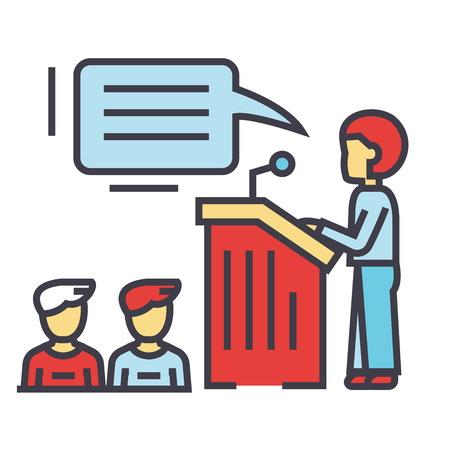 Speaker presentation illustration. Illustration