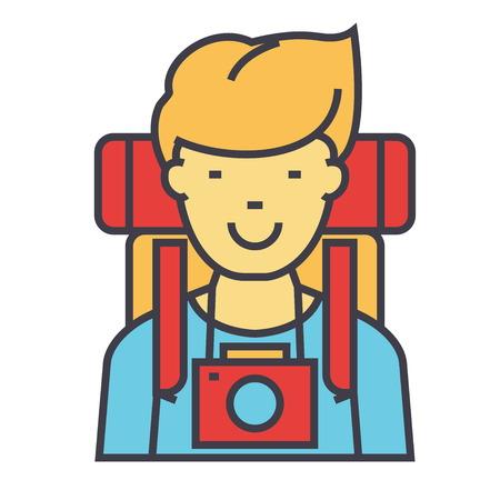 Back packer traveler icon.