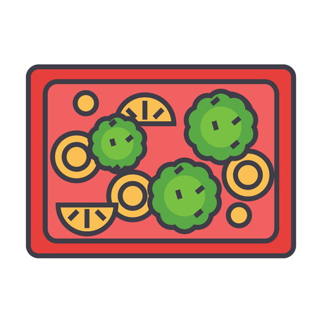 Fried vegetables illustration.