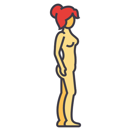 Woman body profile, female silhouette concept. Line vector icon. Editable stroke. Flat linear illustration isolated on white background Illustration
