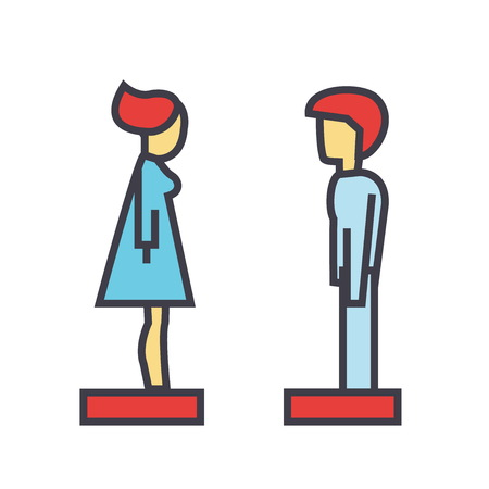 Woman and man profile side view, avatars, relationship concept. Line vector icon. Editable stroke. Flat linear illustration isolated on white background Иллюстрация