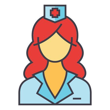 여자 의사, 간호사, 의료 팀 개념입니다. 라인 벡터 아이콘입니다. 편집 가능한 획. 평면 선형 그림 흰색 배경에 고립 된 일러스트
