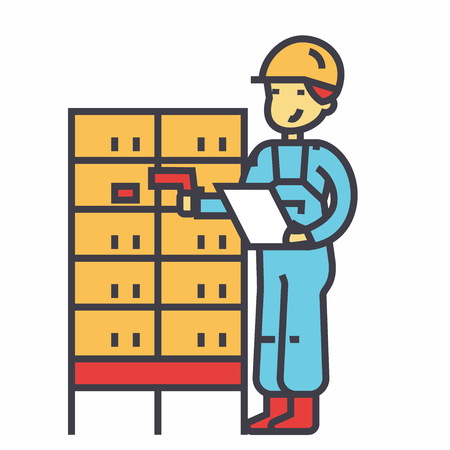 Warehouse, delivery man, checking bar code on post boxes concept. Line vector icon. Editable stroke. Flat linear illustration isolated on white background Ilustração