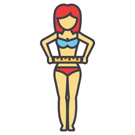 그녀의 허리, 다이어트, 피트니스, 체중 감량 개념 후 측정하는 여자. 라인 벡터 아이콘입니다. 편집 가능한 획. 평면 선형 그림 흰색 배경에 고립 된 일러스트