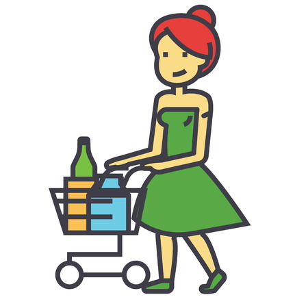 Woman shopping in supermarket with grocery cart concept. Line vector icon. Editable stroke. Flat linear illustration isolated on white background