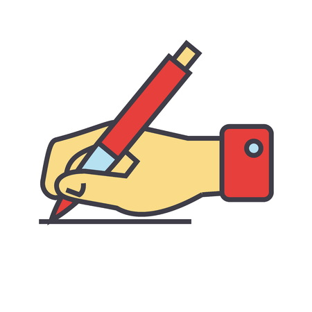 Writing sign, hand with pen concept. Line vector icon. Editable stroke. Flat linear illustration isolated on white background