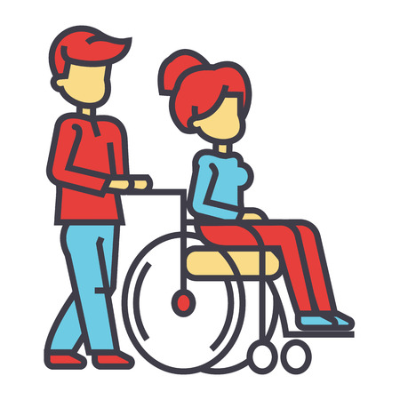 Young man strolling with young woman in wheelchair, nursing care for disabled people concept. Line vector icon. Editable stroke. Flat linear illustration isolated on white background Illustration