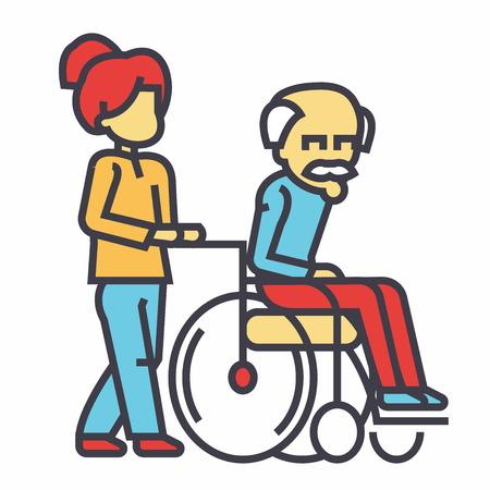 젊은 여자 간호사 휠체어, 사회 도움말 개념에서 노인 남자와 산책. 라인 벡터 아이콘입니다. 편집 가능한 획. 평면 선형 그림 흰색 배경에 고립 된