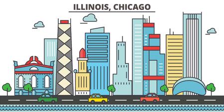 시카고 도시의 스카이 라인 : 건물, 거리, 실루엣, 건축물, 풍경, 파노라마, 편집 가능한 스트로크 및 평면 디자인의 랜드 마크