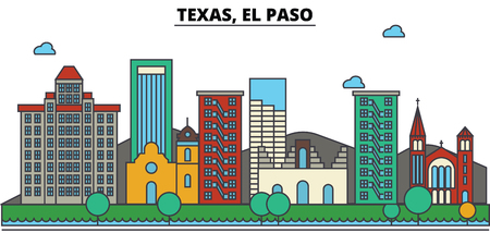 El Paso, Texas skyline: buildings, streets, silhouette, architecture, landscape, panorama, landmarks in Editable strokes and Flat design Ilustração