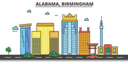 알라 바 마, 버밍엄 시티 스카이 라인, 아키텍처, 건물, 거리, 실루엣, 프리, 파노라마, 랜드 마크, 아이콘. 편집 가능한 스트로크. 플랫 디자인 라인 벡