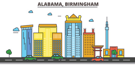 Alabama, Birmingham.City skyline, architecture, buildings, streets, silhouette, landscape, panorama, landmarks, icons. Editable strokes. Flat design line vector illustration concept.