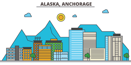 Alaska, Anchorage.City skyline: architecture, buildings, streets, silhouette, landscape, panorama, landmarks. Editable strokes. Flat design line vector illustration concept. Isolated icons Çizim