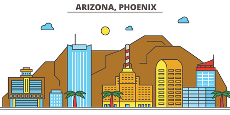 Arizona, Phoenix.City skyline: architecture, buildings, streets, silhouette, landscape, panorama, landmarks. Editable strokes. Flat design line vector illustration concept. Isolated icons