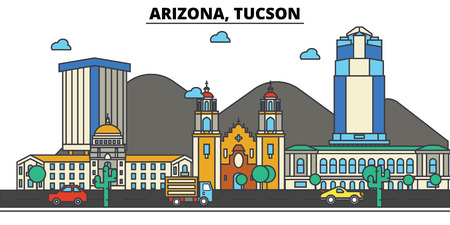 애리조나, Tucson.City 스카이 라인 : 건축물, 건물, 거리, 실루엣, 스케이프, 파노라마, 랜드 마크. 편집 가능한 스트로크. 플랫 디자인 라인 벡터 일러스트