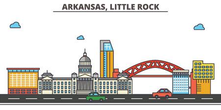 Arkansas, Little Rock.City skyline: architecture, buildings, streets, silhouette, landscape, panorama, landmarks. Editable strokes. Flat design line vector illustration concept. Isolated icons 일러스트