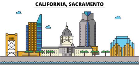 California, Sacramento.City skyline: architecture, buildings, streets, silhouette, landscape, panorama, landmarks. Editable strokes. Flat design line vector illustration concept. Isolated icons Illustration