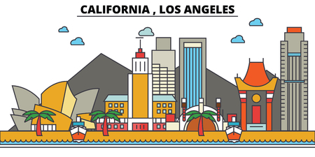 캘리포니아, 로스 앤젤레스. 도시 스카이 라인 : 아키텍처, 건물, 거리, 실루엣, 프리, 파노라마, 랜드 마크. 편집 가능한 스트로크. 플랫 디자인 라인 벡터 일러스트 레이 션 개념. 고립 된 아이콘들 스톡 콘텐츠 - 85388019