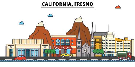 カリフォルニア州 Fresno.City スカイライン: 建築、建物、通り、シルエット、風景、パノラマ、ランドマーク。編集可能なストローク。フラットなデ
