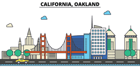 California, Oakland.City skyline: architecture, buildings, streets, silhouette, landscape, panorama, landmarks. Editable strokes. Flat design line vector illustration concept. Isolated icons Stock Illustratie