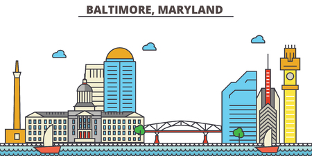 Baltimore, Maryland.City skyline: architecture, buildings, streets, silhouette, landscape, panorama, landmarks. Editable strokes. Flat design line vector illustration concept. Isolated icons Illustration