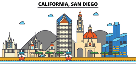 California, San Diego.City skyline: architecture, buildings, streets, silhouette, landscape, panorama, landmarks. Editable strokes. Flat design line vector illustration concept. Isolated icons