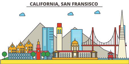 カリフォルニア、サン Francisco.City スカイライン: 建築、建物、通り、シルエット、風景、パノラマ、ランドマーク。編集可能なストローク。フラッ  イラスト・ベクター素材