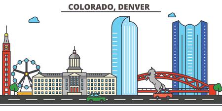 コロラド州 Denver.City スカイライン: 建築、建物、通り、シルエット、風景、パノラマ、ランドマーク。編集可能なストローク。フラットなデザイン