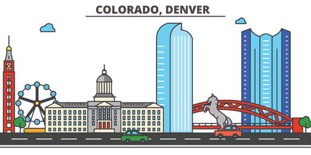 Colorado, Denver.City skyline: architecture, buildings, streets, silhouette, landscape, panorama, landmarks. Editable strokes. Flat design line vector illustration concept. Isolated icons Çizim