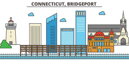 Connecticut, Bridgeport.City skyline: architecture, buildings, streets, silhouette, landscape, panorama, landmarks. Editable strokes. Flat design line vector illustration concept. Isolated icons