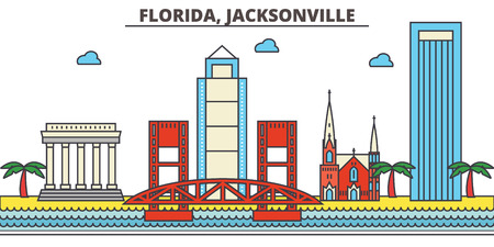 Florida, Jacksonville.City skyline: architecture, buildings, streets, silhouette, landscape, panorama, landmarks. Editable strokes. Flat design line vector illustration concept. Isolated icons Stock Vector - 85388001