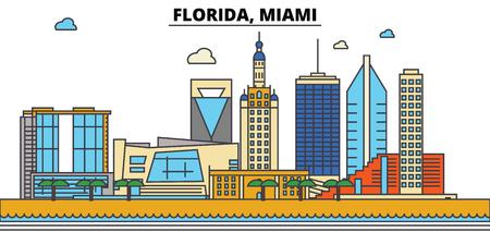 플로리다, Miami.City 스카이 라인 : 아키텍처, 건물, 거리, 실루엣, 프리, 파노라마, 랜드 마크. 편집 가능한 스트로크. 플랫 디자인 라인 벡터 일러스트 레