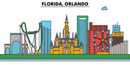 Florida, Orlando.City skyline : 건축물, 건물, 거리, 실루엣, 스케이프, 파노라마, 랜드 마크. 편집 가능한 스트로크. 플랫 디자인 라인 벡터 일러스트 레이 션