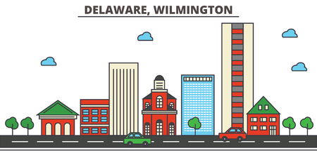 Delaware, Wilmington.City skyline: architecture, buildings, streets, silhouette, landscape, panorama, landmarks. Editable strokes. Flat design line vector illustration concept. Isolated icons