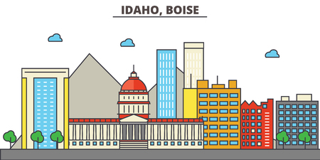 Idaho, Boise.City skyline: architecture, buildings, streets, silhouette, landscape, panorama, landmarks. Editable strokes. Flat design line vector illustration concept. Isolated icons Illustration