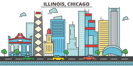 イリノイ州 Chicago.City スカイライン: 建築、建物、通り、シルエット、風景、パノラマ、ランドマーク。編集可能なストローク。フラットなデザイン   イラスト・ベクター素材