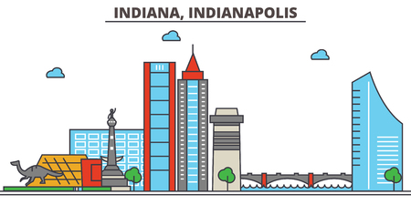 Indiana, Indianapolis.City skyline: architecture, buildings, streets, silhouette, landscape, panorama, landmarks. Editable strokes. Flat design line vector illustration concept. Isolated icons Illustration