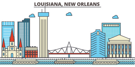Louisiana, New Orleans.City skyline: architecture, buildings, streets, silhouette, landscape, panorama, landmarks. Editable strokes. Flat design line vector illustration concept. Isolated icons