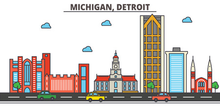 Michigan, Detroit.City skyline: architecture, buildings, streets, silhouette, landscape, panorama, landmarks. Editable strokes. Flat design line vector illustration concept. Isolated icons
